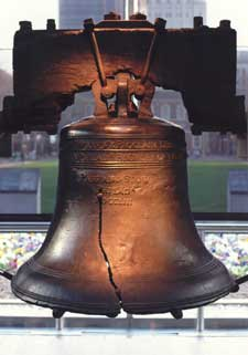 An artistic photograph of the Liberty Bell