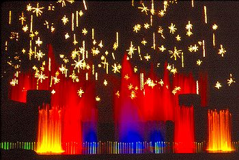 An art theme, such as this water light show, can make a difference in any holiday celebration.